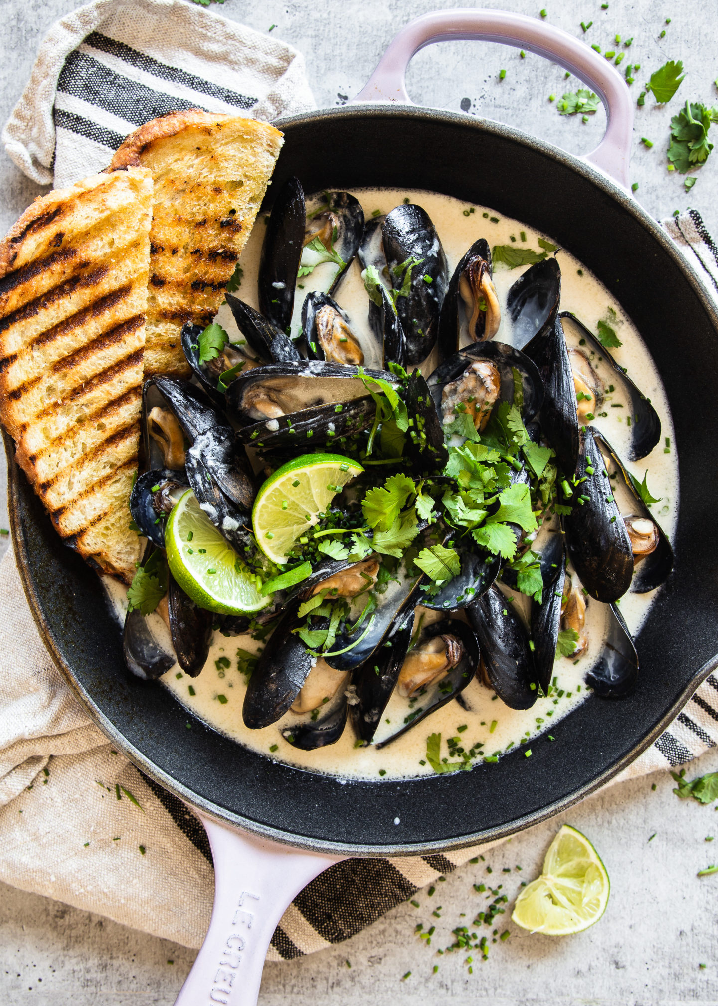 Thai Mussels in Kaffir Lime and Coconut Broth