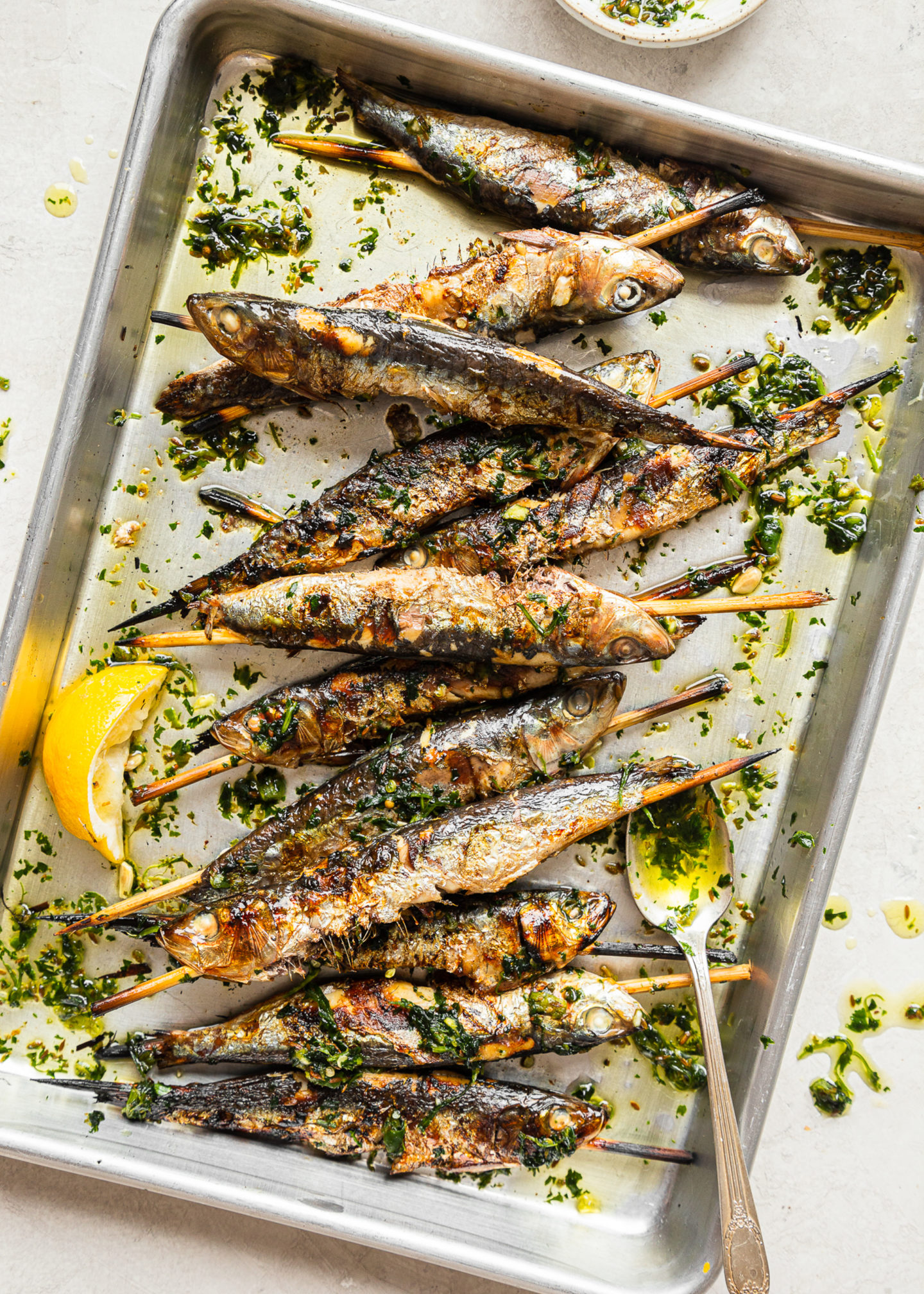 Grilled Sardines with Green Chile Sauce
