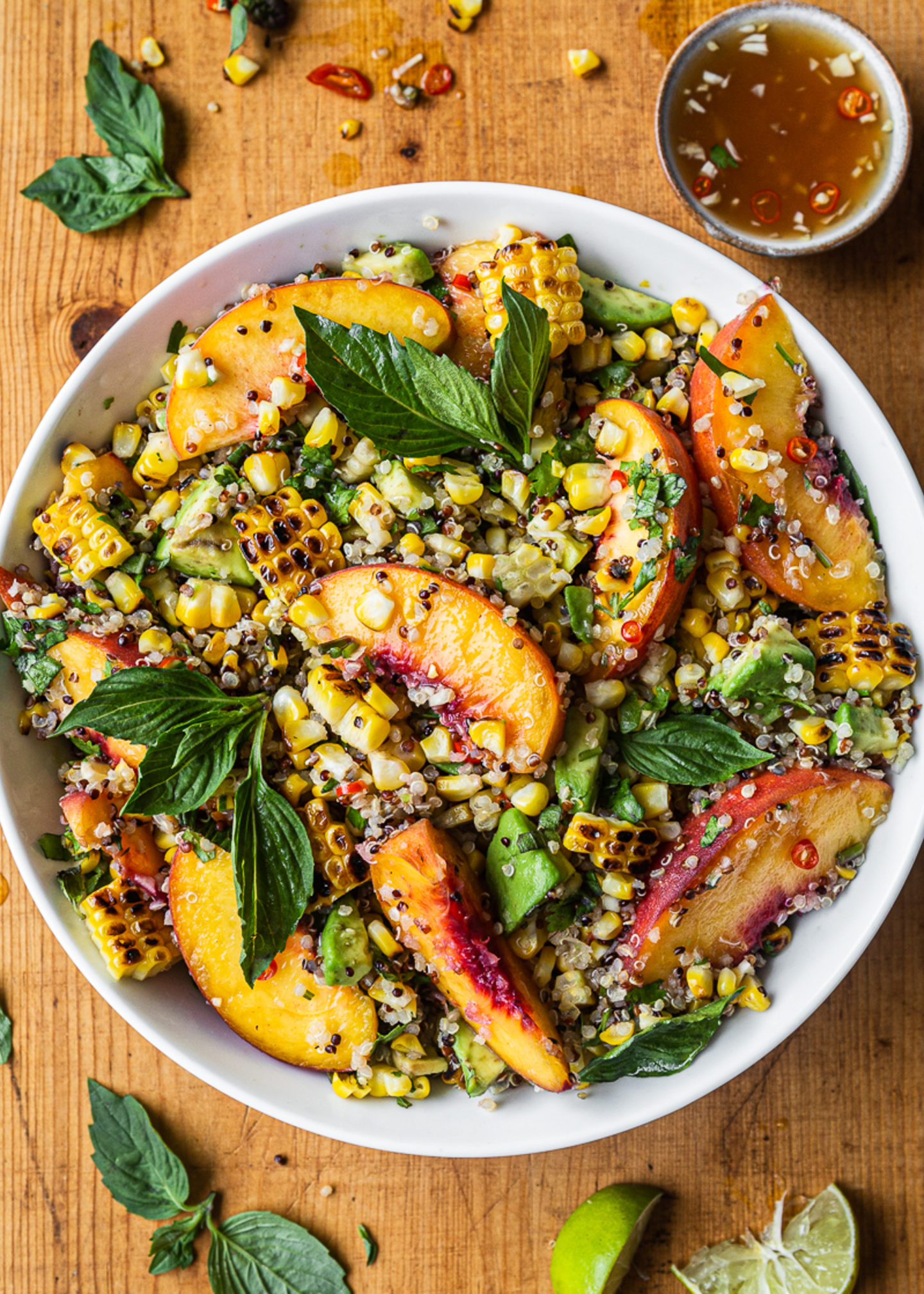 Charred Corn, Peach Salad with Quinoa and Nuoc Cham