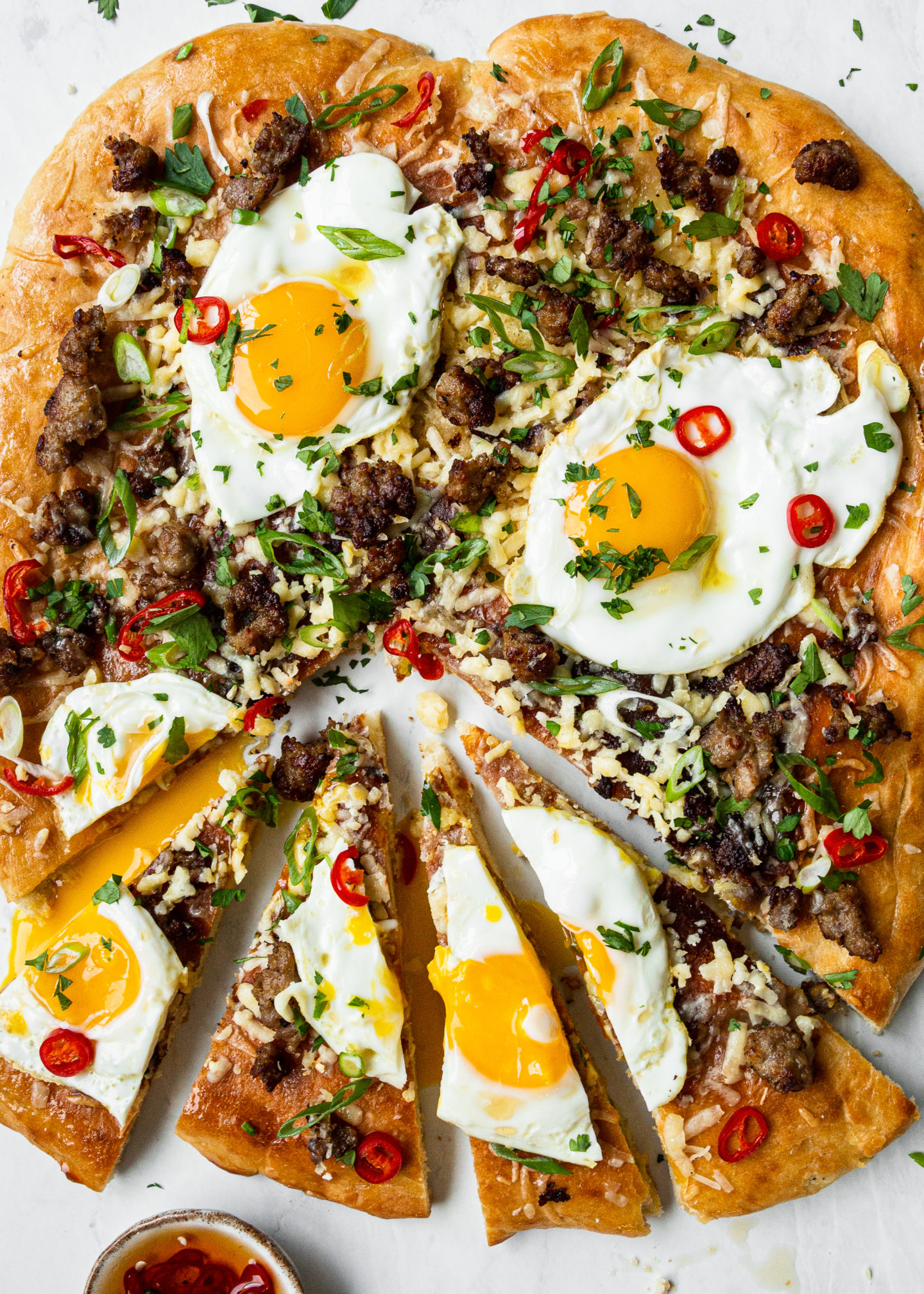 Sausage, Cheddar, and Egg Pizza with Chili...