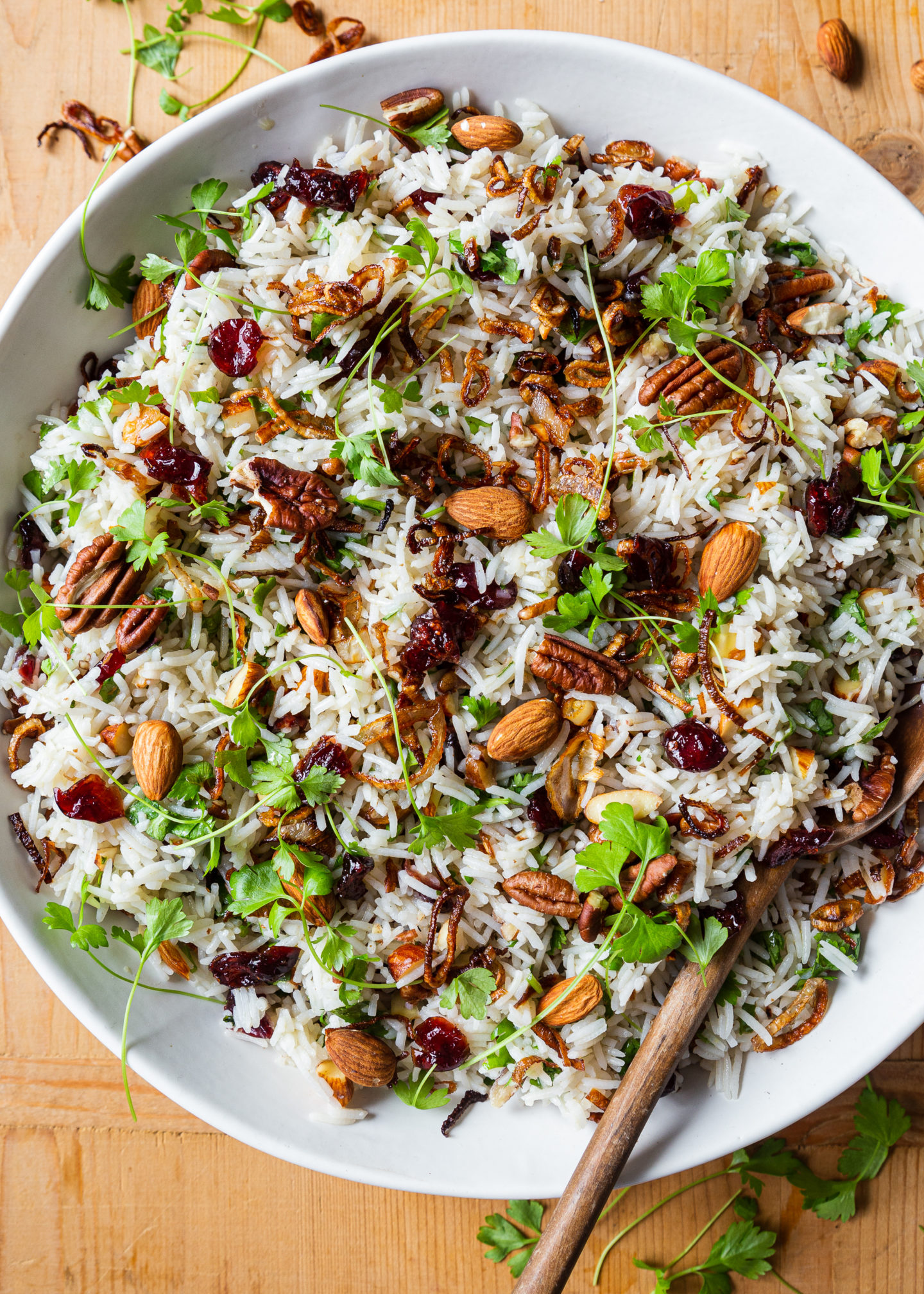 Cranberry Rice with Crispy Shallots and Nuts