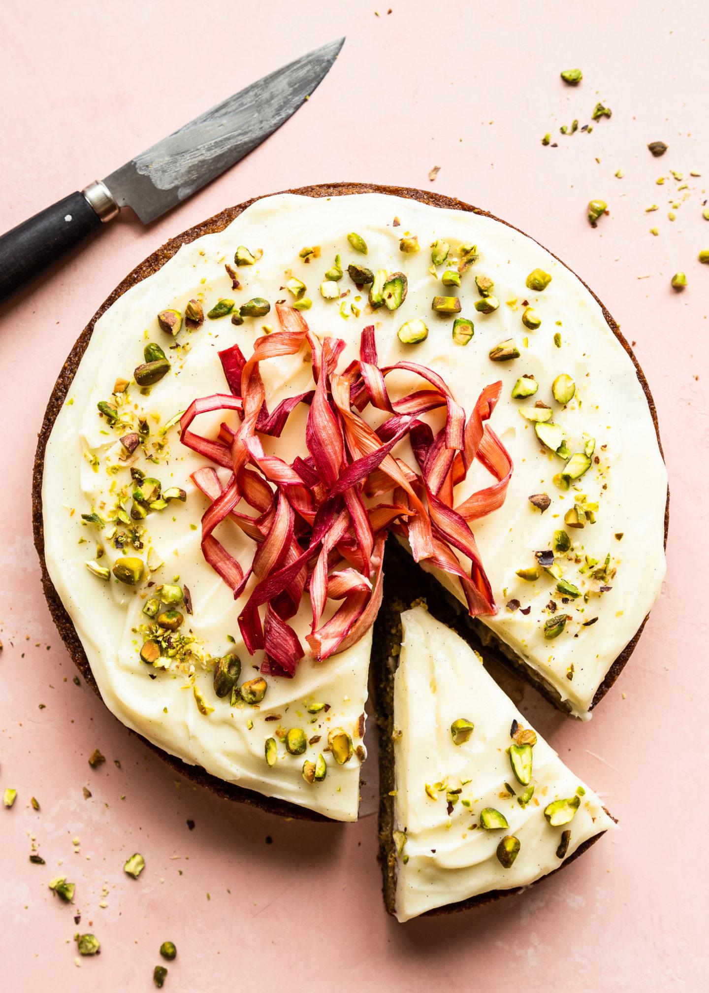 Pistachio Rhubarb Cake with Mascarpone...